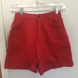 Vintage Cherry Red High-waisted Jean Shorts